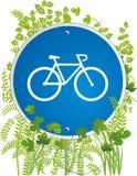 自行车骑士路标 免版税库存图片