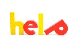五颜六色的帮助在木字上写字 免版税库存图片