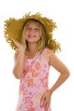 女孩愉快的帽子一点夏天 免版税库存图片