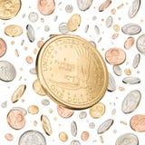 доллар понижаясь одно монетки Стоковое фото RF