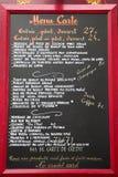 法国法语菜单巴黎 库存图片