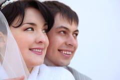 夫妇最近结婚的纵向 免版税库存图片