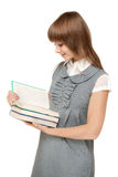 书女孩读年轻人 库存照片