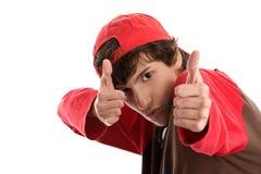 Храбрейшая стрельба мальчика от больших пальцев руки вверх Стоковое Изображение RF