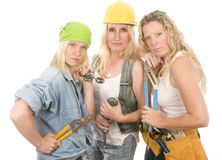 工程承包商夫人性感的小组 免版税图库摄影