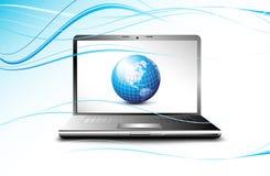 显示地球地球膝上型计算机的企业概&# 免版税库存照片