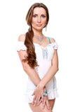 美丽的白色服装妇女 免版税库存照片