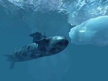 在冰极性潜水艇之下 库存照片
