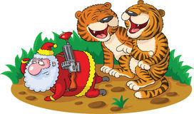 猎人圣诞老人 库存照片