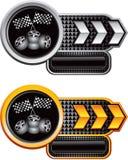 赛跑轮胎的横幅黑色方格的标志 库存图片