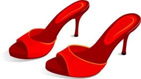 красный цвет обувает шпильки Стоковая Фотография