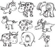 超级动物集合的草图 库存图片