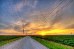сельский заход солнца Стоковая Фотография RF