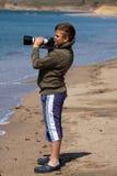 男孩照相机射击 免版税图库摄影