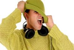 青少年的耳机 免版税图库摄影