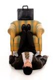生意人思考的瑜伽 免版税图库摄影