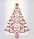 圣诞节典雅的红色结构树 图库摄影
