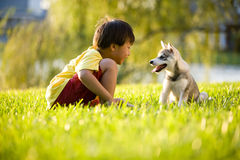 户外演奏小狗的狗愉快的孩子 免版税图库摄影