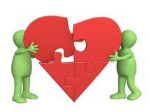 сердце разделяет головоломку Стоковые Фото