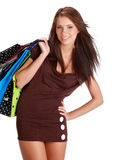 袋子五颜六色的购物妇女 免版税图库摄影
