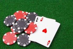 πόκερ ισοτιμίας τσιπ άσσων Στοκ Εικόνες