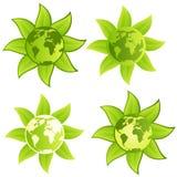 按钮绿色行星符号 免版税库存照片