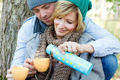 夫妇公园野餐 免版税库存图片