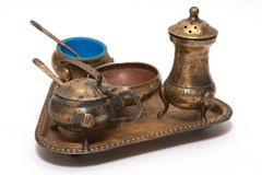 古铜色刀叉餐具老集 库存图片