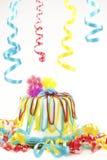 生日蛋糕当事人丝带 免版税库存照片