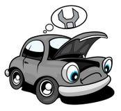需要维修服务的汽车动画片 库存照片