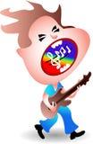 吉他弹奏者快乐唱歌 库存图片