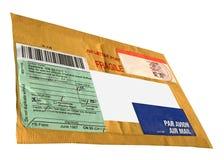 信包邮件程序包唯一葡萄酒黄色 库存图片