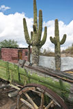 被放弃的五颜六色的老无盖货车西部 图库摄影