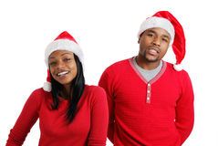 非洲裔美国人的圣诞节夫妇帽子圣诞&# 图库摄影