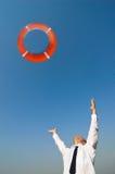 спасательный жилет бизнесмена Стоковая Фотография