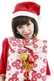 女孩愉快的圣诞老人 免版税库存图片