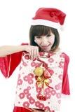 亚裔女孩圣诞老人 免版税库存图片