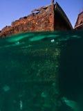 被查看的生锈的海难水中 免版税库存照片