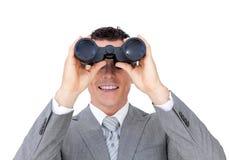 双筒望远镜生意人查找 免版税库存图片