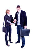 指向工作计划的商人 免版税库存图片