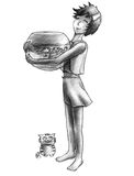 小水族馆的大猫 免版税图库摄影
