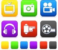 Εικονίδια τεχνολογίας στα τετραγωνικά κουμπιά Διαδικτύου Στοκ Εικόνες