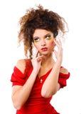 礼服高雅红色妇女 免版税库存图片