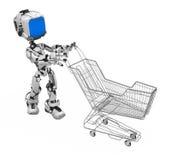 蓝色机器人屏幕购物台车 免版税库存图片
