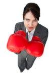 在竞争中取胜的女实业家 库存图片
