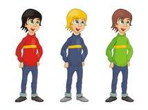 男孩动画片例证向量 免版税库存照片