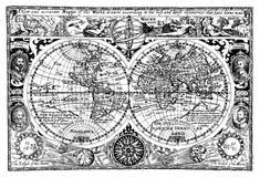 古色古香的例证映射向量世界 免版税库存图片