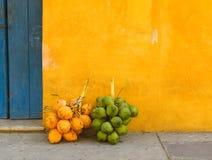 在卡塔赫钠,哥伦比亚街道的椰子  免版税图库摄影