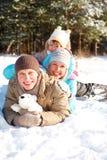 зима семьи Стоковые Изображения