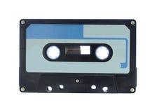 音频黑色蓝色盒式磁带 免版税库存照片